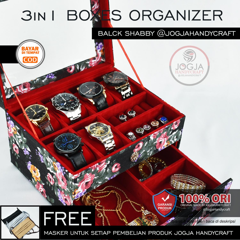 premium edition – kotak jam tangan jumbo isi 6 mix tempat perhiasan susun