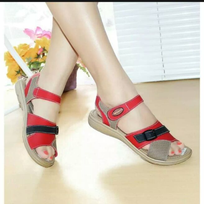 mulan – sendal wanita  2020 tali sandal wanita sandal flat warna merah kode 1681