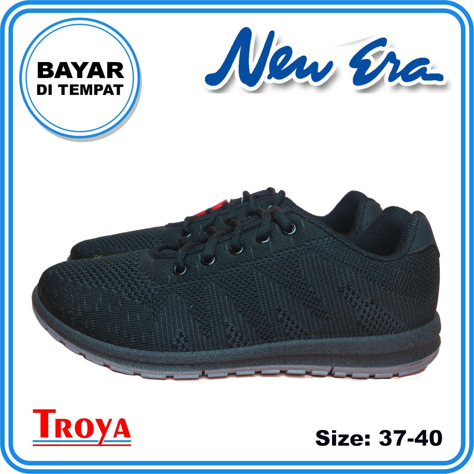troya – new era sepatu wanita original britney hitam hitam / sepatu olahraga  / sepatu lari wanita shsg / sepatuwanitatroyastore