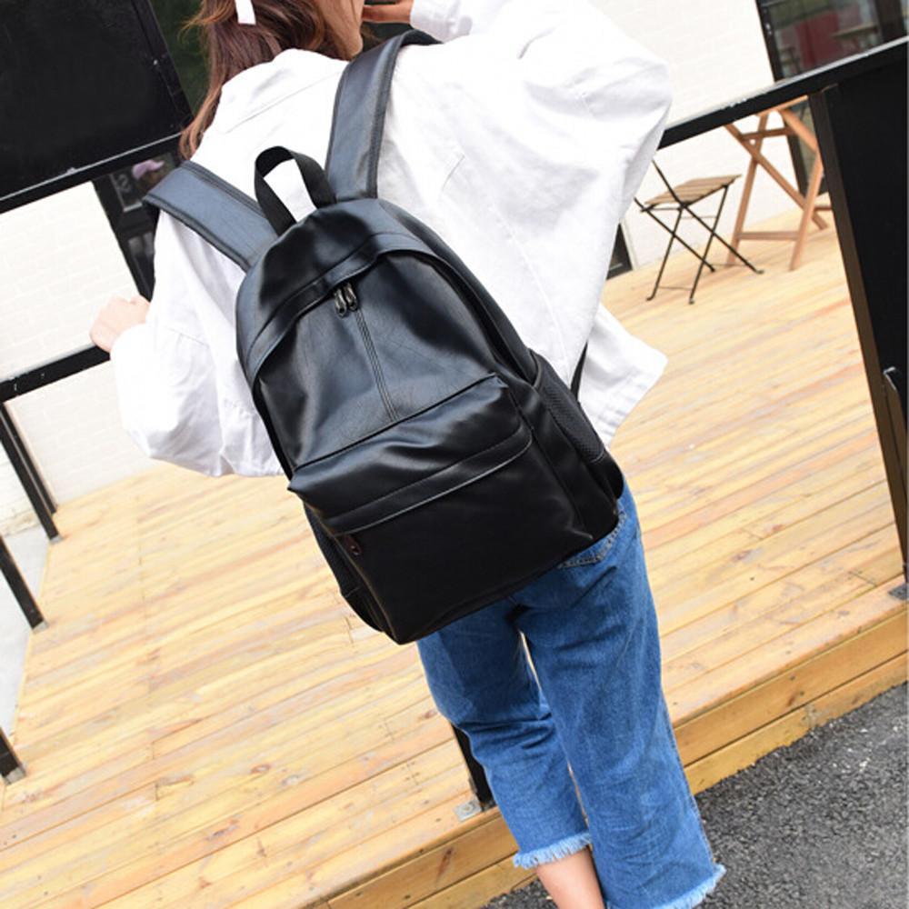 ... Pria Wanita Ransel Kulit Tas Laptop Perjalanan Ransel Sekolah Tas - 3