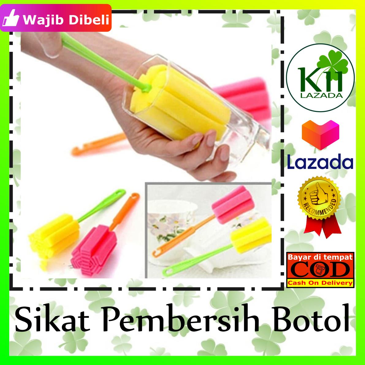 zalindo – tongkat alat pembersih botol & gelas  / tongkat sponge