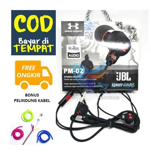 (promo bonus pelindung kabel) miscenel- headset/handsfree jbl warwars pm02 superbass – headset gaming/music/telpon- headset untuk semua tipe hp realme – samsung – xiaomi – oppo – asus – infinix dll