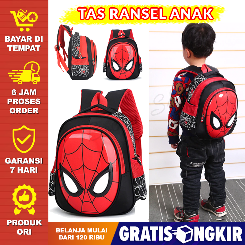tas anak laki laki karakter spiderman tas sekolah tk – boom shop
