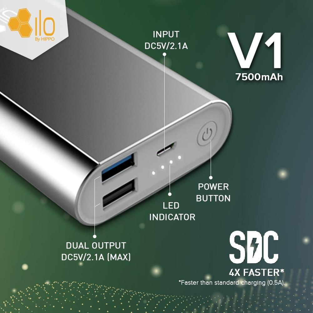 Hippo Powerbank Ilo V1 7500 mAh Silver - 2 ...