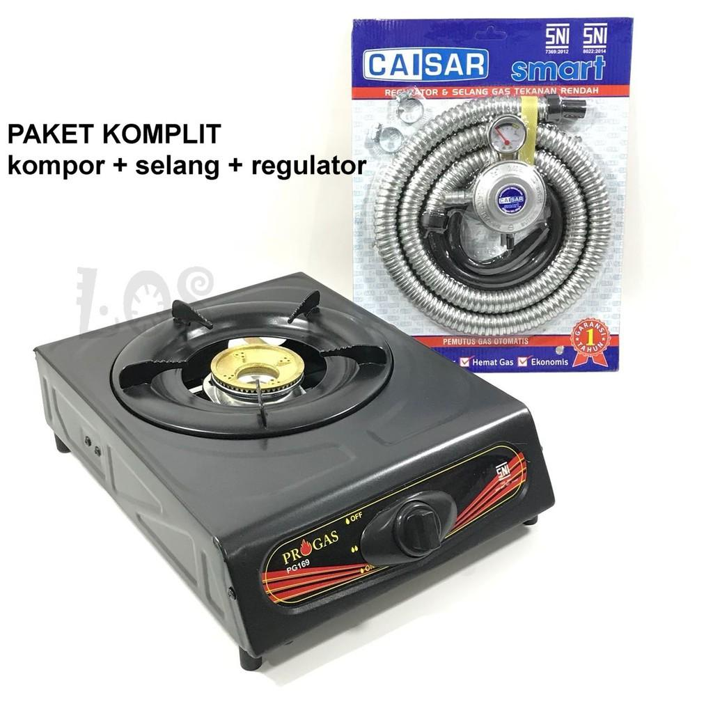 Kompor Gas 1 Tungku Progas Bonus Selang Gas Paket Regulator caisar