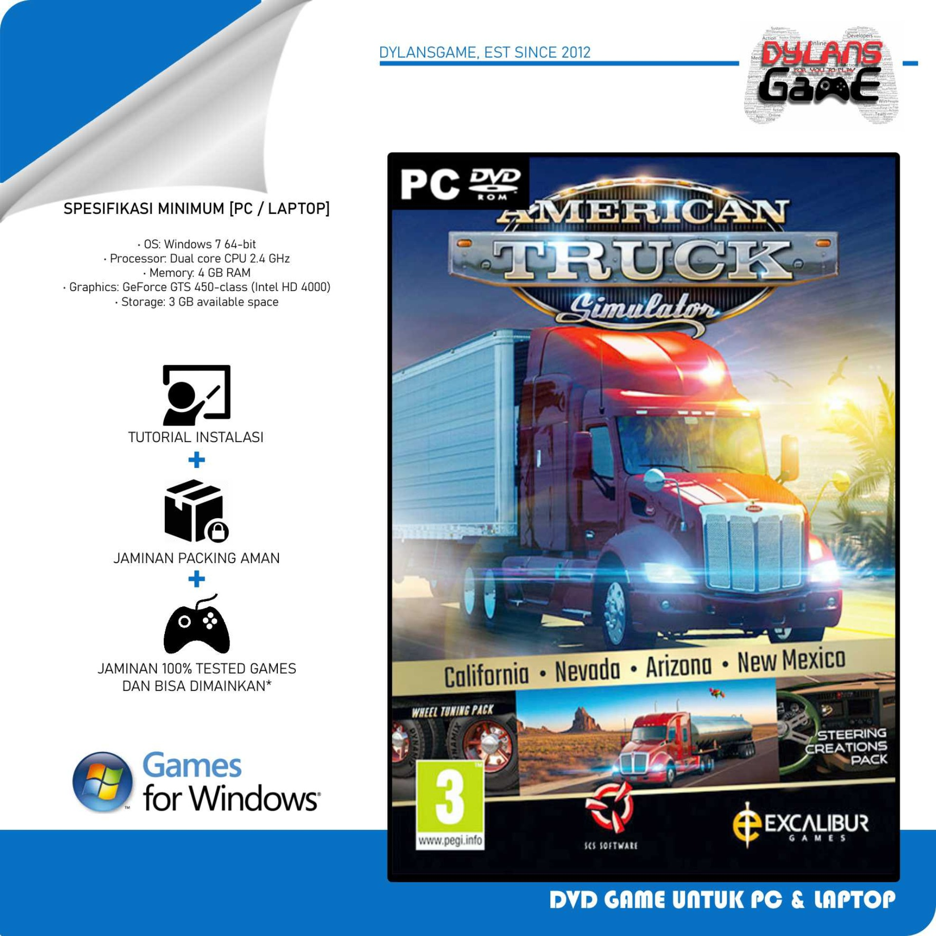 American Truck Simulator + DLC Game PC DVD Game PC