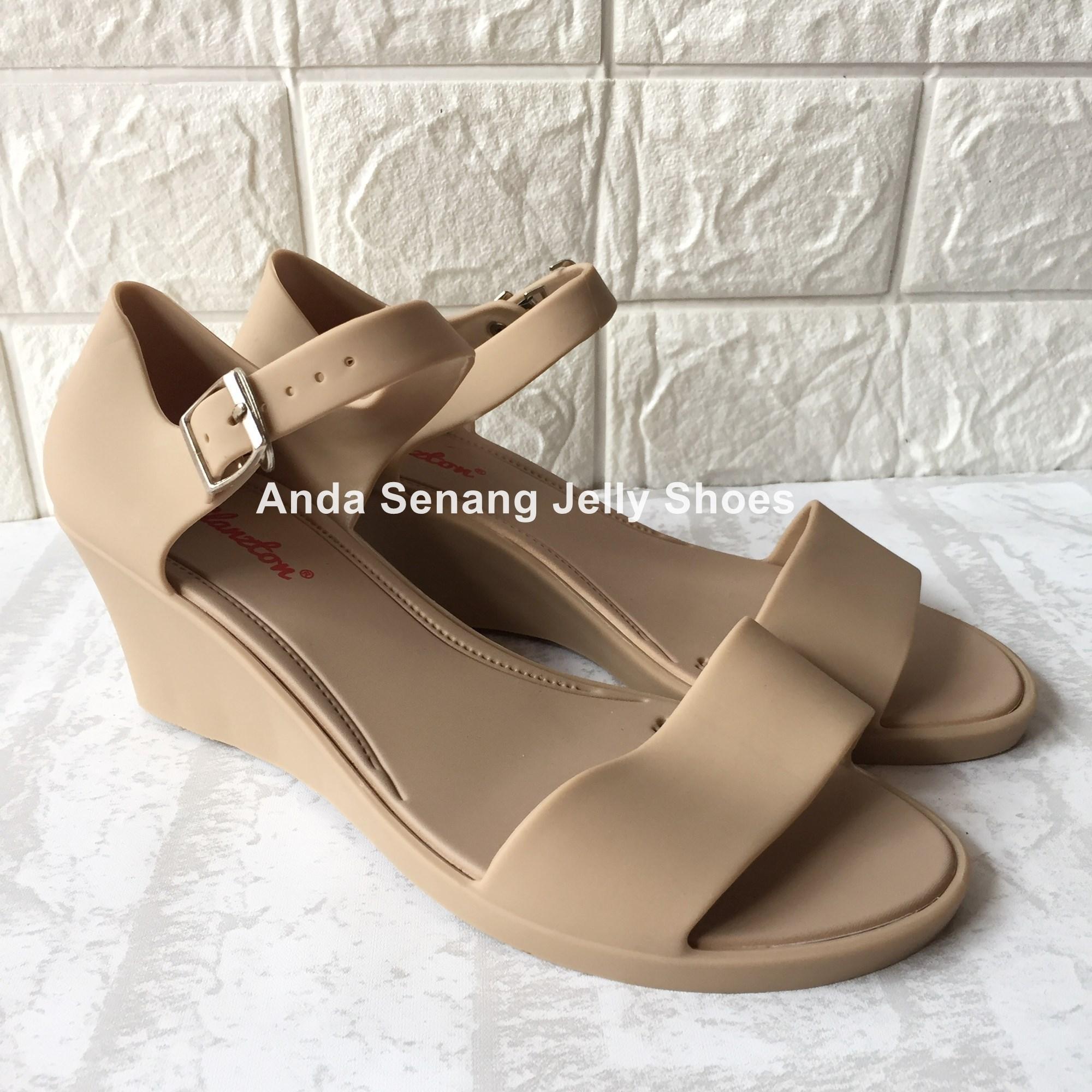 Sepatu Sandal Jelly Shoes Wedges Glanzton Kode L226PS - Sepatu Wanita Kerja