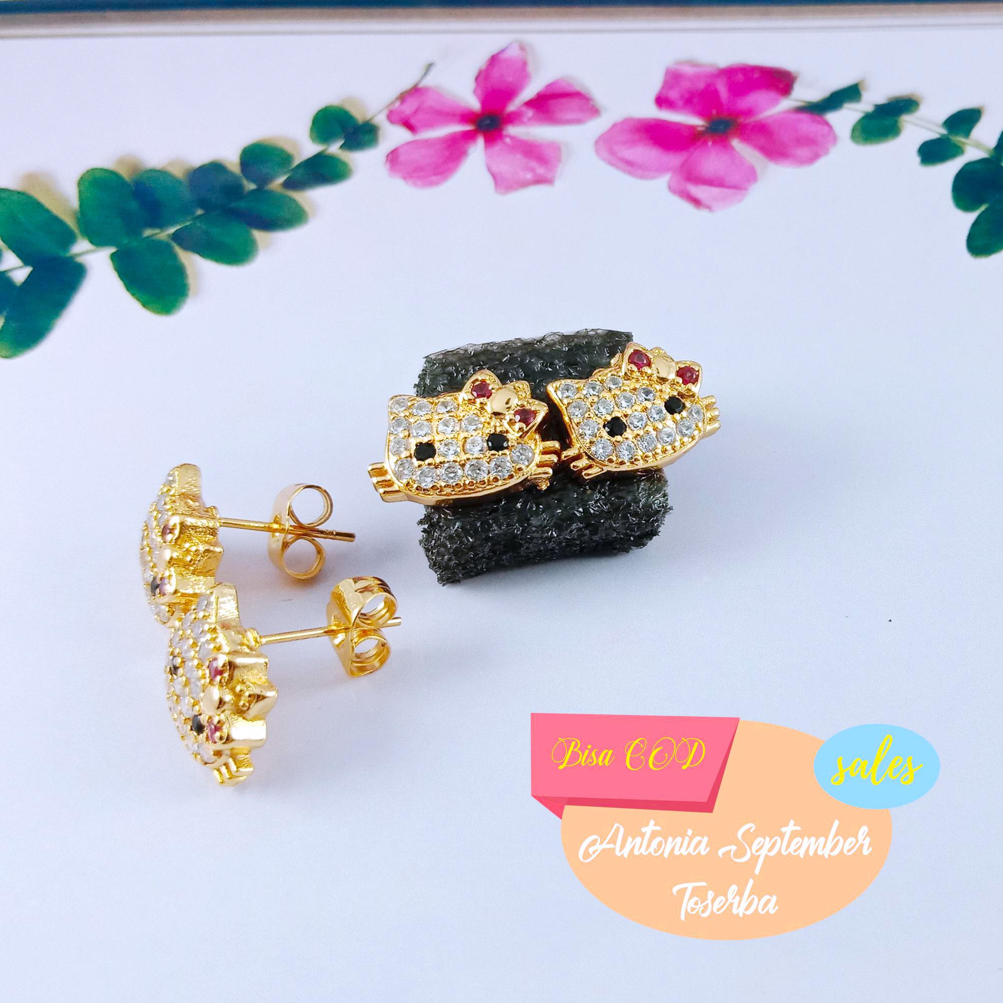 anting tusuk motif jamur perhiasan wanita