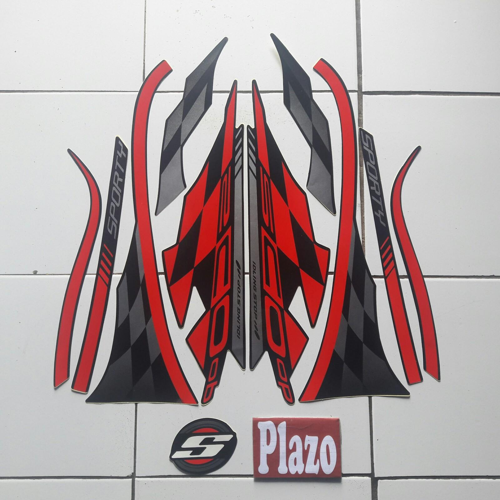 striping motor / stiker honda scoopy sporty  merah