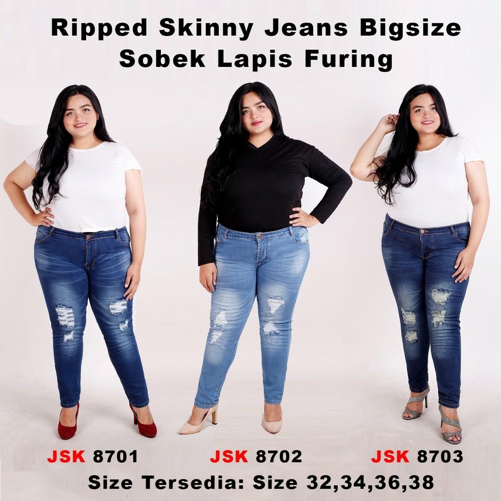 [size 32-38] celana panjang ripped skinny jeans wanita softjeans stretch sobek jumbo big size jsk