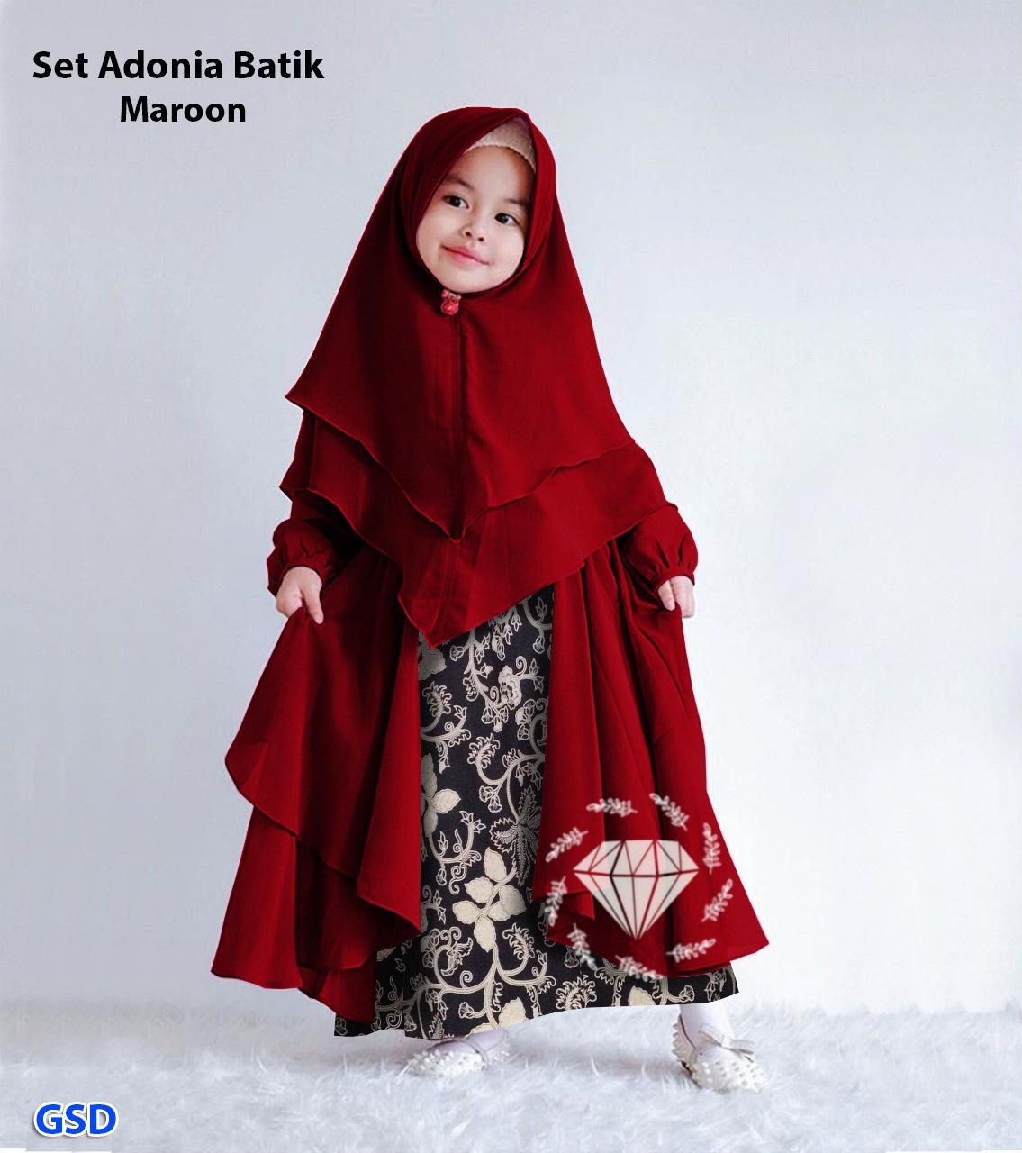 set adonia batik/baju gamis batik anak/maxi dress batik anak/dress hijab