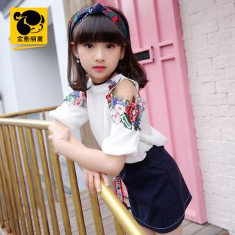 12 Korea Modis Gaya Gadis Musim Panas Anak Perempuan Kecil Gaun Putri (( Putih Set