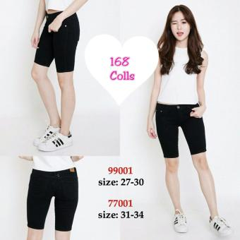 168 Collection Celana Big Wenny 3Per4 Jeans Pant-Hitam