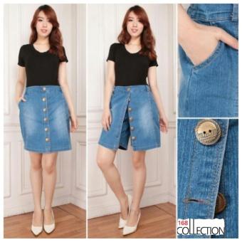 168 Collection Celana Rok Jumbo Hotpant Full kancing Jeans Pant-Biru Muda