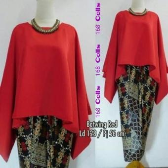 168 Collection Stelan Atasan Blouse Jasmine Batwing Dan Rok Lilit Batik -Merah