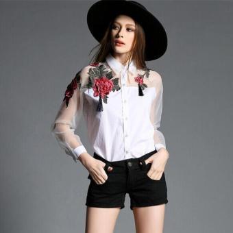 2016 Fashion Wanita Putih Bunga Bordir Organza Kemeja Sifon Ukuran Plus Lengan Panjang Blus Pakaian-