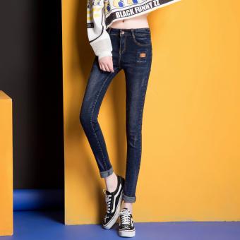Peregangan Ramping Celana Pensil Kaki Pinggang Celana Jeans (Biru Hitam) ( Biru Hitam)