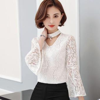 Hanyu renda leher V tabir surya Beach baju kemeja wanita putih International Source 2017 Musim Panas