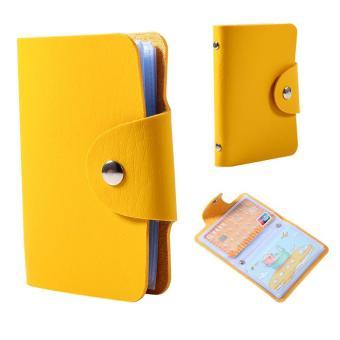 24 slot Business Card Holder PU kulit kredit saku dompet (kuning)