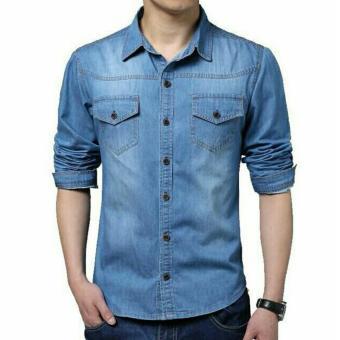 369 Kemeja Cio Casual Pria Bahan Jeans - Biru Muda