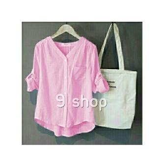 9 Shop Kemeja Wanita Lengan Panjang MONA - PINK   Kemeja Formal Wanita    Kemeja Kerja 34e76a9bef