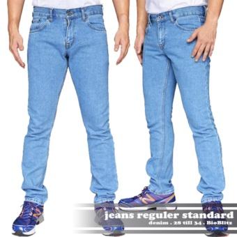 AHF Celana Panjang Jeans Regular Fit Standard Pria - Biru Muda (BioBlitz)