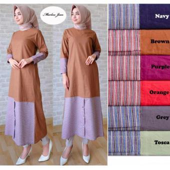 Alona Dress Muslim Baju Muslim Wanita Baju Gamis Wanita 2 Warna Bahan Katun - Orange