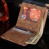 Amart Busana Dompet Pendek Pria Korea Taa Genggam Kanvas Warna Sambungan Dompet Vintage Wadah Kartu Koin - 2