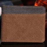 Amart Busana Dompet Pendek Pria Korea Taa Genggam Kanvas Warna Sambungan Dompet Vintage Wadah Kartu Koin - 3