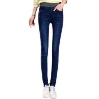 Amart Fashion Spring Fall Women Jean Trouser Elastic High Waist Denim Pants Slim Casual Pencil Plus