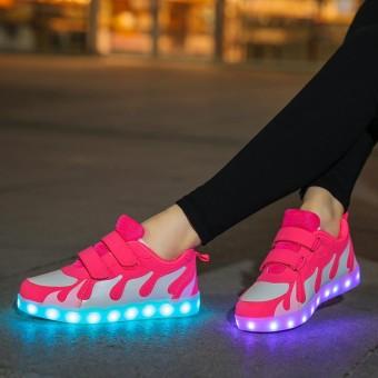 Amart Fashion Korea Dewasa Anak-anak Luminous Sneakers LED Menyala Bersinar  USB Charge Sepatu- e57f7df379