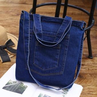 Amart Korean Fashion Women Denim Shoulder Bag Zipped Handbag Casual Vintage Jeans Crossbody Messenger Bags -