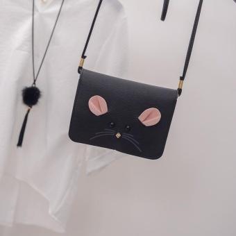 Amart Fashion Korea Wanita Satchel Cute Little Mouse Kecil Square Messenger PU Leather Purse Shoulder Bag