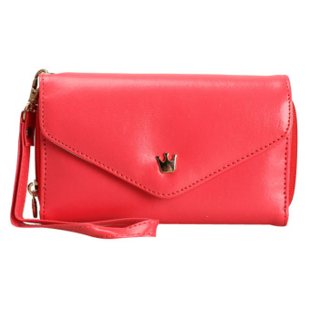 Amart Lovely Crown Clutches PU Leather Wallet Portable Mobile Phone Bag(Red) - intl