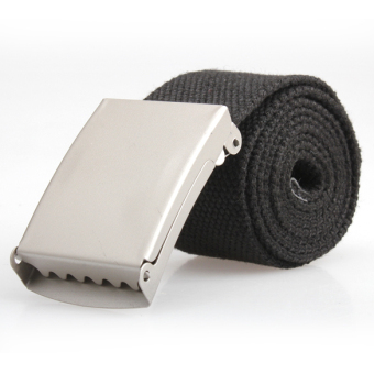 Amart Men Web Military Style Canvas Belt With Metal Buckle Black - intl