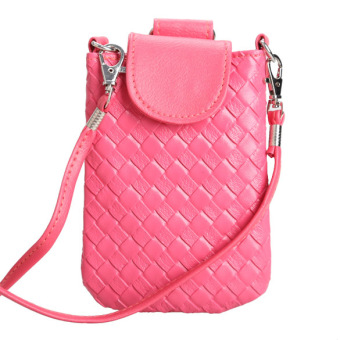 Amart Phone Shoulder Bags Clutch Bag Knitting Bag for iphone 4s/5/5s/MP3/4(Rose) - Intl