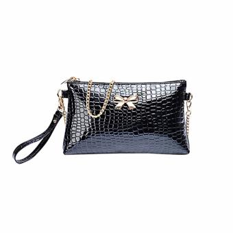 Amart PU Chain Clutch Women's Shoulder Bag Crocodile Bow Decoration Pouch Bags- intl