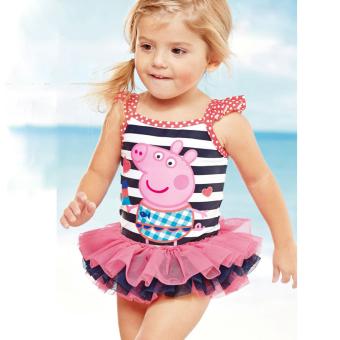 Mata Udara Panas Children Anak Perempuan Bikini Baju Renang (Lengan Bergaris Babi (Tidak With