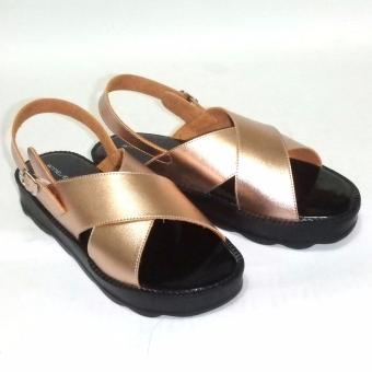Anneliese sandal wedges wanita bella rose gold