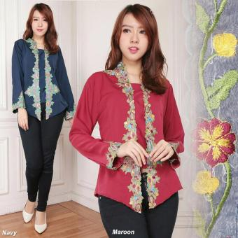 Atasan blouse kemeja abaya kebaya wanita jumbo shirt Dahlia maroon .