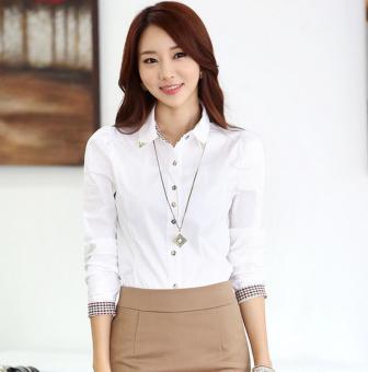 Kasual Wanita Musim Gugur Shirt Fashion Plaid Panjang Lengan Plus Ukuran Ramping Lapel OL Kantor Baju
