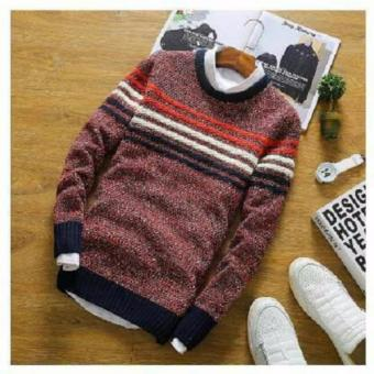 Azam Clobber - Sweater Pria Rajut - Jhon Maroon Tribal Sweater - Rajut Tribal