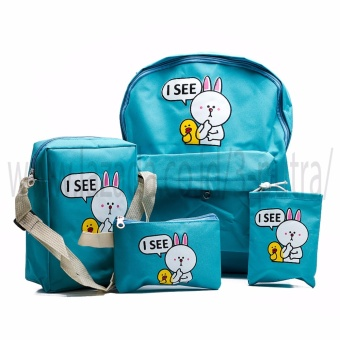 Backpack/Tas Punggung/Tas Ransel/Ransel Sekolah/Travel Bag 4 in 1 - Wanita ( 3P isee Backpack ) - Light Blue