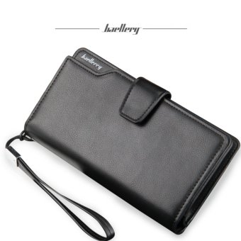 Baellerry Dompet Pria Fashion Import PU leather premium long wallet with zipper - Hitam