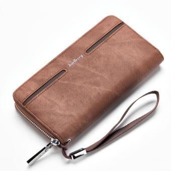 Baellerry Men's Casual Pu Leather Handbag Wallet Long Wallet - Brown