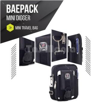 Tas Selempang Baepack Tas Pinggang Pria Army Tactical Molle Salur Waist Small Bag Military - Black