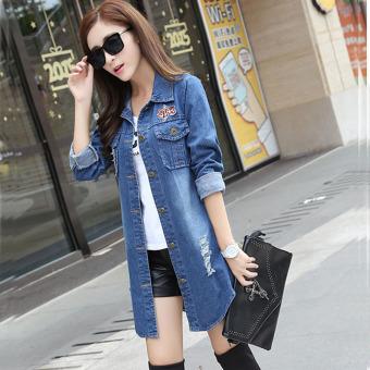 Aiyilu Jaket Wanita Panjang Sedang Versi Korea Bahan Jeans Model Longgar Berlubang (Biru)