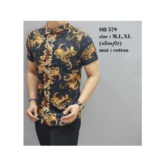 Nivana Batik Kemeja Hem Pendek Batik Sekar Jagat Baju Atasan Pria ... 754f1be464
