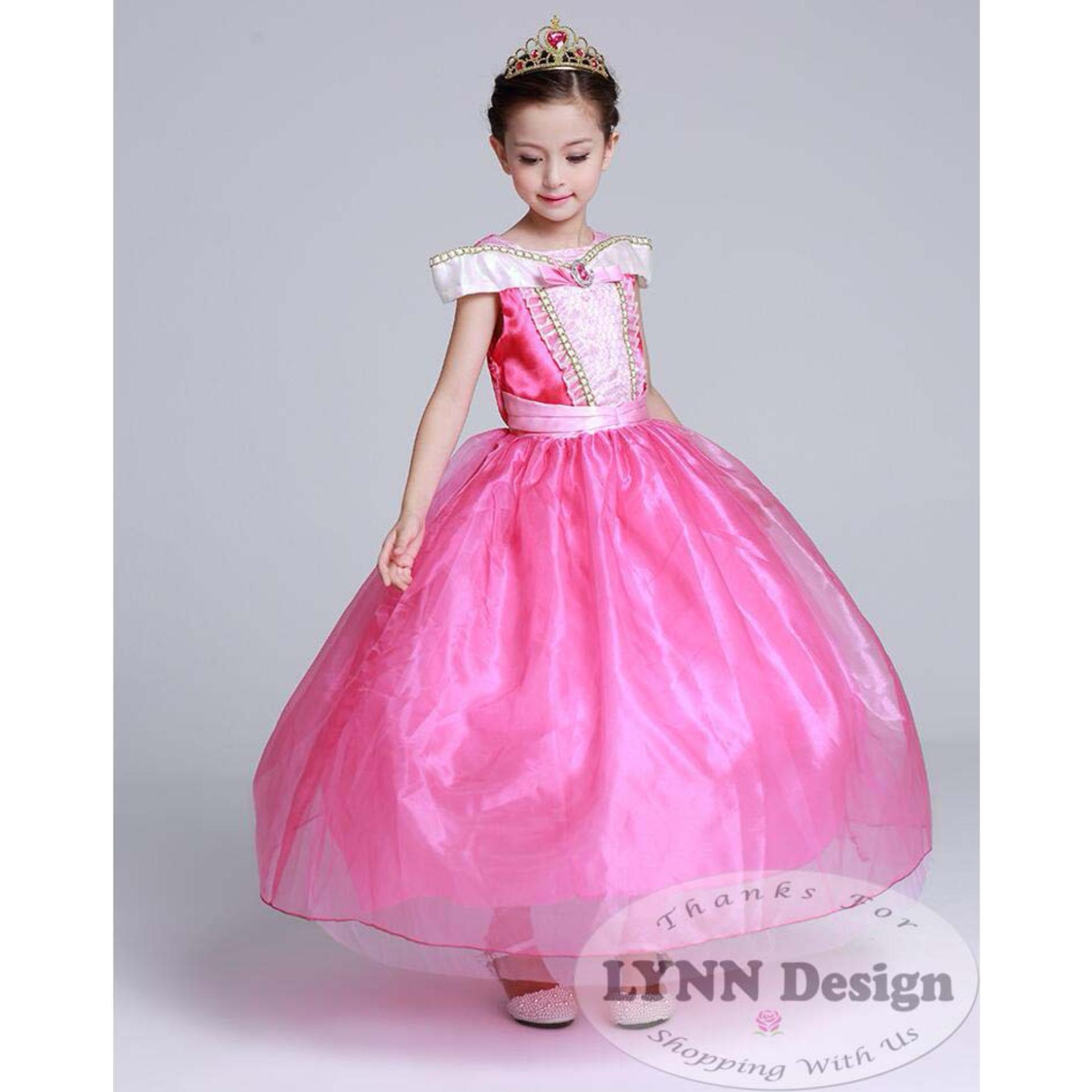 lynn design – baju dress gaun pesta kostum anak princess aurora pink_lynn design