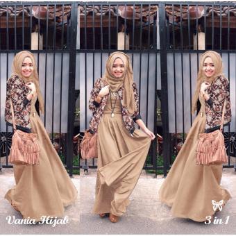 ... Baju Gamis Muslim Syari Fashionable Gamis Vania Batik mocca